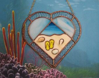 Stained Glass, Sun Catcher, Beach Suncatcher, Seashell Suncatcher, Beach Heart Suncatcher, Beach Decor, Flip-Flop Suncatcher