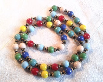 Vintage Harlequin Glass Bead Necklace, Art Deco, 30s, 40s. Longer Length.