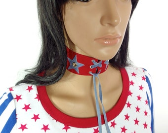 HUZZAR DESIGN Suede Star Lace Up Choker Made to order