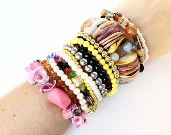 Vintage lot Stretchy Bracelets for beads repurposing reuse for crafts and Assemblage 15 pieces