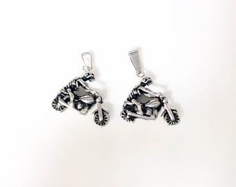 2pc skeleton biker on motorcycle pendants stainless steel pendants metal lot destash