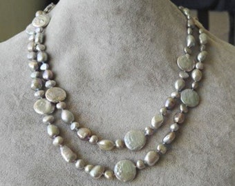 pearl necklace- coin pearl necklace, baroque pearl necklace, gray freshwater pearl long necklace 36inch