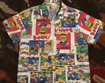 Vintage Fun Connections Boy's Size 6 Comic Strip Allover Print S/S Button Down Shirt