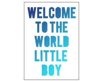Welcome to the world little boy | printable miniposter A4 and US letter format | by-laura