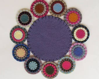 Candle Mat Wool Felt Blend, Handmade, Finished Ready To Ship Purple Sage