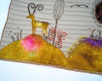 Fabric collage, landscape fiber art, fiber postcard, miniature art quilt, small quilt, natural tone fiber art earth tone, autumn home decor