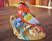 Bright Orange Bird Windowsill Planter Japan Mid Century Ceramic
