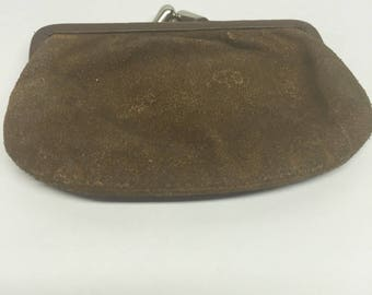 Suade brown change purse snap closure vintage