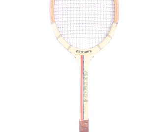 Vintage Wooden Tennis Racket / Pennant Honour Tennis Racket / White Red Blue Wood Tennis Racket / Antique Tennis Racket / Sports Decor