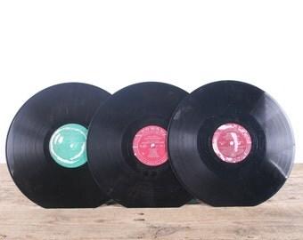 3 Vintage 33 1/3 Records / Colorful Vinyl Records / Antique Vinyl Records Decorations / Old Records Coral / Retro Music Party Decor