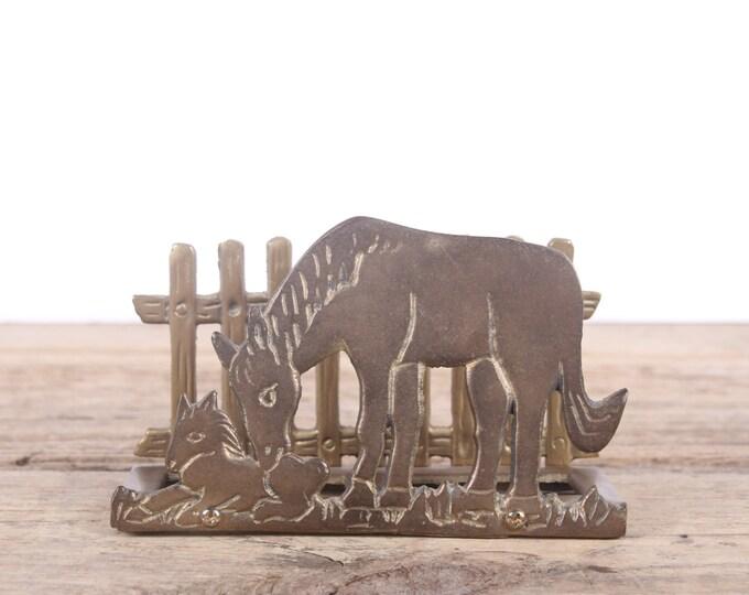 Vintage Brass Horse Mail Organizer / Gold Desk Horses  Fawn Organizer / Horse Napkin Holder / Desk Top Decor Storage / Riding Horse Gift