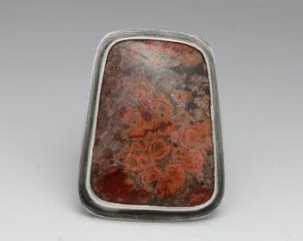Mexican Poppy Jasper Ring, Jasper & Sterling Ring, Statement Ring, Unisex, Size 8