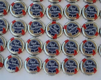 100 PBR Pabst Blue Ribbon Beer Bottle Caps Cards Poker -used