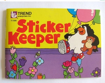 SALE Trend Penguin and Teddy Bear Rare Vintage 1980 Sticker Album - Used 80's Book Scrapbook Illustration Balloon Scratch and Sniff