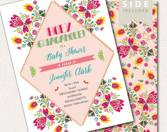 Fiesta Baby Shower Invitation / Holy Guacamole Party / Printable Invite / Mexican Shower / Baby Shower Brunch / Couples Shower/Gender Reveal