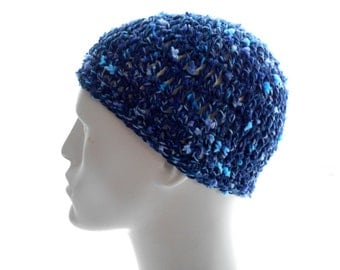 Vegan Crochet Hat, Men's and Women's Beanie Hat, Cotton - Blend Beanie, Blue Tweedy Hat, Medium to Large Size