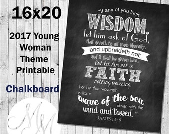 16x20 2017 Mutual Theme. If any of you lack wisdom. Chalk. Digital. Young Woman Printable