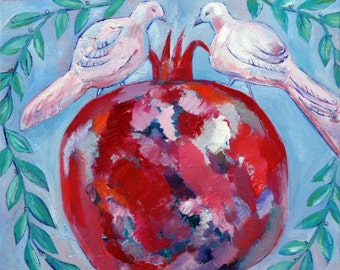 Original small oil painting DOVES with POMEGRANATE vibrant colors green blue pink white red home decoratrion
