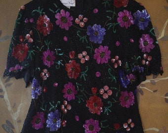 80s Laurence Kazar black silk and coloured flowers sequin blouse