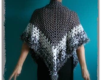 Grey Crochet Triangle Shawl,Gypsy Wrap,White Scarf,Elegant Shawl,Multi Color Yarn,One Size,Womens Clothing,Lightweight,Unique,OOAK,Original