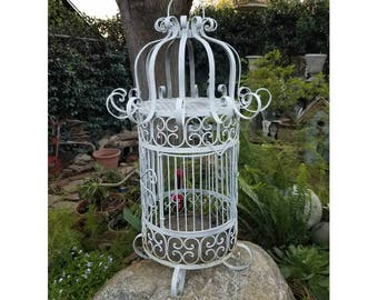 Large Vintage White Wrought Iron Scroll Birdcage ~ Shabby Chic Cottage Garden Bird Cage