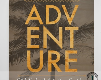 Wood Sign: Adventure Palm Trees - Product Sizes and Pricing via Dropdown Menu