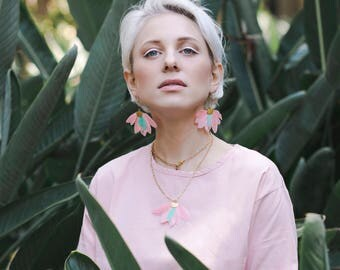Pastel Pink & Mint Feather statement earrings by Pardes