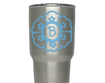 Flower Initial Decal for Mugs, Tumblers, Laptops, Cars
