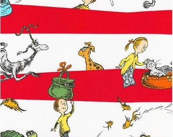 Dr Seuss's What Pet Should I Get Characters on Red Stripes from Robert Kaufman by Seuss Enterprises
