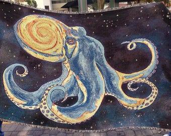 Octopus Blanket 100% Cotton Woven & Made in USA (Preorder) - Visionary, Psychedelic, Galaxy, Hippie, Bohemian, ocean, sea creature, kraken
