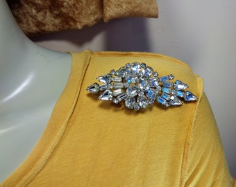 Art Deco Clear Rhinestone Large Pin Dimensional Vintage Rhinestone Brooch with Wire Over Design Big Beautiful Art Deco Pin
