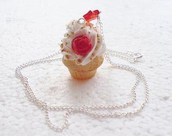 Red Rose Cupcake Pendant.  Polymer clay