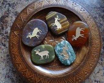 DEER Gemstone Animal Spirit Totem for Spiritual Jewelry or Crafts