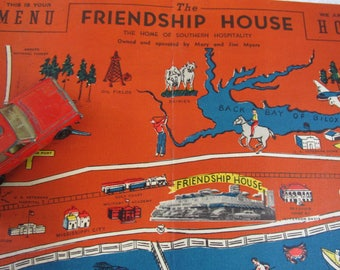 Vintage Souvenir Restaurant Menu/Friendship House/Mississippi/Gulf of Mexico/Home of Southern Hospitality/Kitchen Wall Art/Collectible Menu