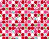 ON SALE Fat Quarter Christmas Fabric for quilt or craft Michael Miller Peppermint Dot in Pink Fat Quarter