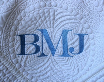 White Baby Quilt, Monogrammed Baby Quilt, Monogrammed Quilt, Personalized Quilt, Baby Shower Gift, Christening Gift, New Baby Gift