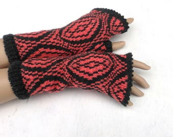Fingerless gloves, knit colorful gloves, women arm warmers, gray pink fingerless mittens, winter gloves, spring wrist warmers,