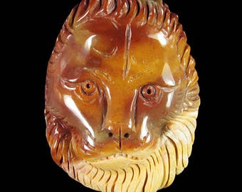 Carved Lion Head Pendant Succor Creek Jasper