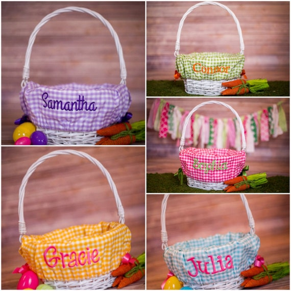 On Sale Personalized Easter Basket Liner By Fourbugsinarug