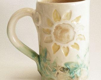 Sun flower ceramic coffee mug 16oz stoneware 16B098