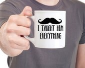 Red Mug with Mustache and quote