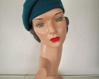 Hand Knit Beret Vintage Style Velveno Beret 1930s Downton Abbey Hat