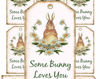 Bunny Tags, Some bunny loves you Tags, Easter Basket gift Tags, Printable Tags, digital Download Tags, craft supplies. Easter Rabbit, brown