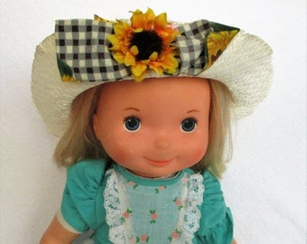 "Spring SALE 30% OFF Vintage 1977 My Friend Mandy Doll with Blonde Hair and Original Hat by Fisher Price 16"" doll 210"