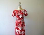 1950s 1960s Hawaiian dress . vintage red Hawaiian dress