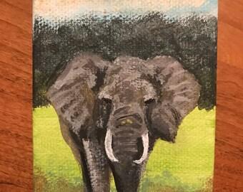 "Handpainted Elephant Mini Canvas Painting 3 1/2"" x 2 1/2"""