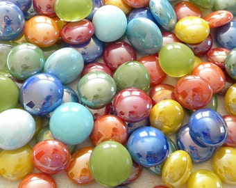100 Glass Gems Cabochons  - Glossy TROPICAL Mix - Mosaic Supplies/Floral/Candle Displays - Half Marbles/Glass Nuggets