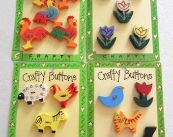 Crafty Wooden Buttons - Destash Supplies