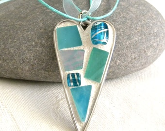 Mosaic HEART Pendant - Aqua - Turquoise - Jewelry Necklace - Stained Glass - Beads