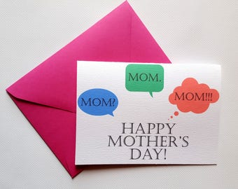 Happy Mother's Day! - Mother's Day Single Thank You Card with Matching Fuchsia Envelope